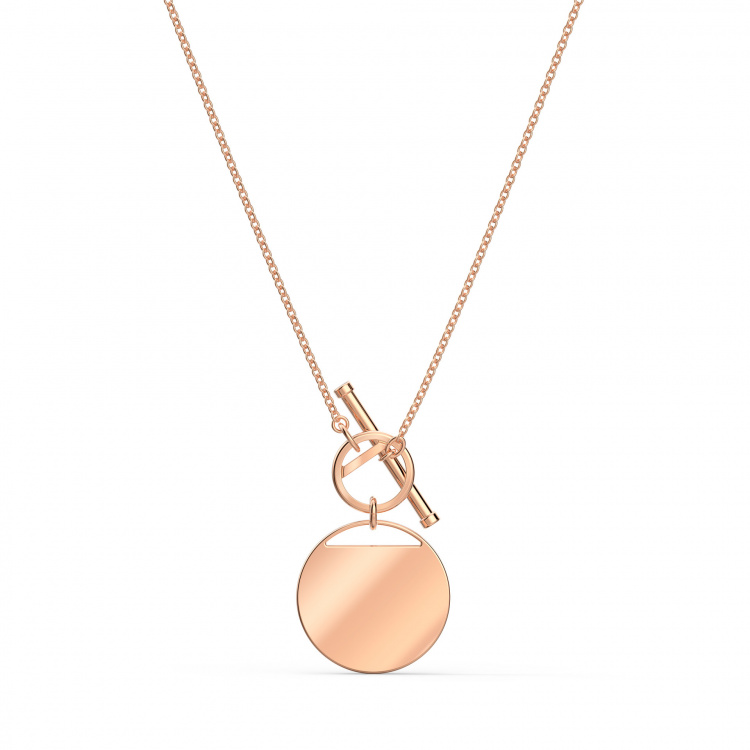 Ginger T Bar Necklace, White, Rose-gold tone plated