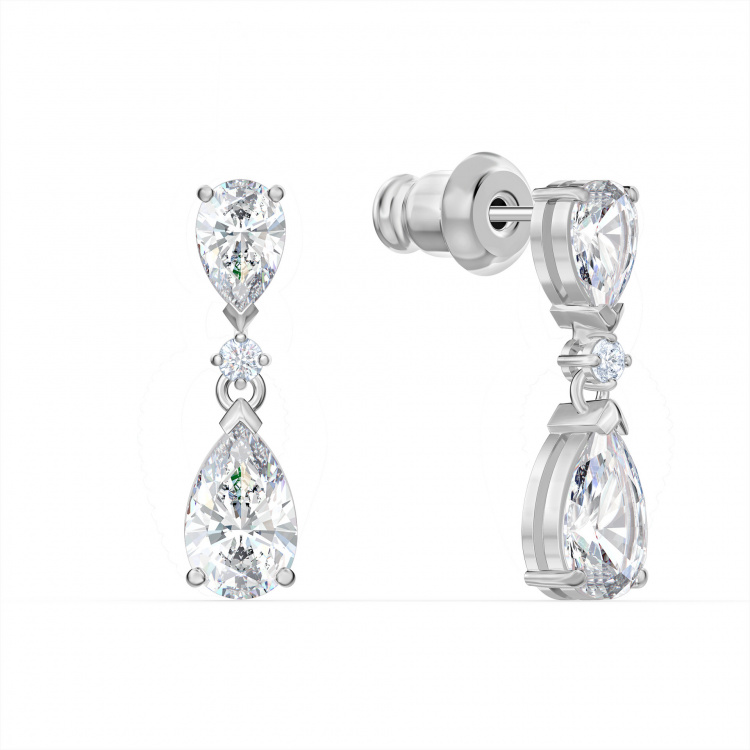 Tennis Deluxe V Mixed Set, White, Rhodium plated