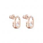 Sparkling Dance Pierced Earrings, White, Rose-gold tone plated