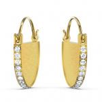 Ginger Hoop Pierced Earrings, White, Gold-tone plated