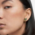 Studiosa stud earrings, Green, Gold-tone plated