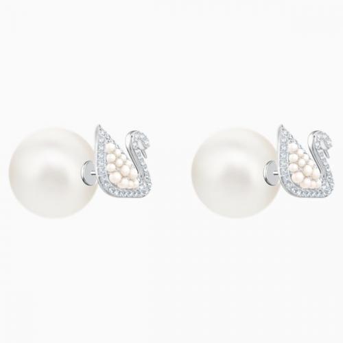Iconic Swan Stud Pierced Earrings, White