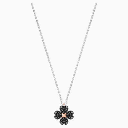 Latisha Flower Pendant, Black, Mixed metal finish