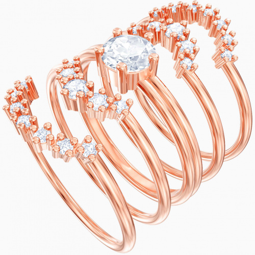 Moonsun Ring Set, White, Rose-gold tone plated