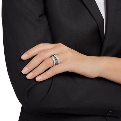 Dynamic Ring, Gray, Rhodium plated