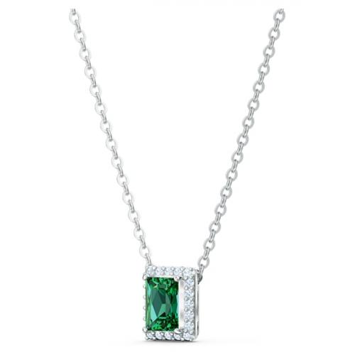 Angelic Rectangular Necklace, Green, Rhodium plated