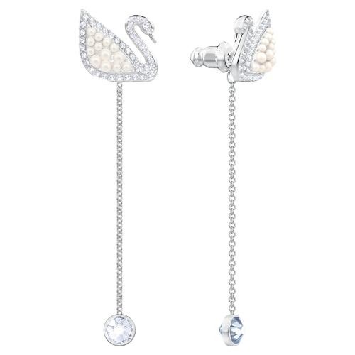 Iconic Swan Pierced Earrings, White, Rhodium plated