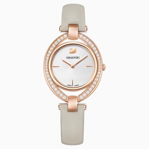Stella Watch, Leather strap, Gray, Rose-gold tone