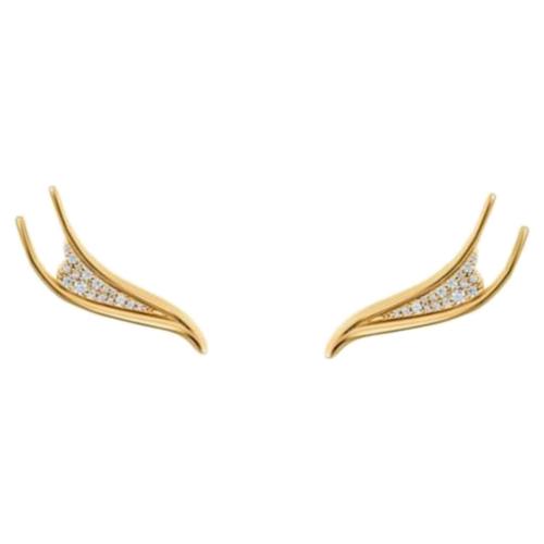 Gilded Treasures Pierced Earrings, White, Gold