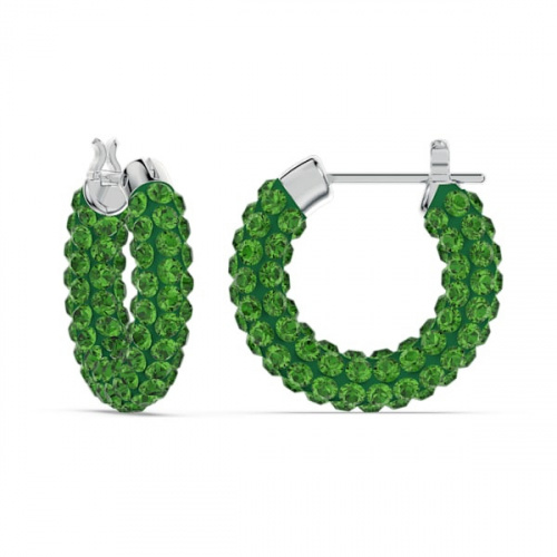 Tigris hoop earrings, Green, Rhodium plated