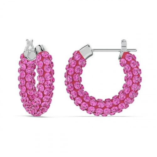 Tigris hoop earrings, Pink, Rhodium plated