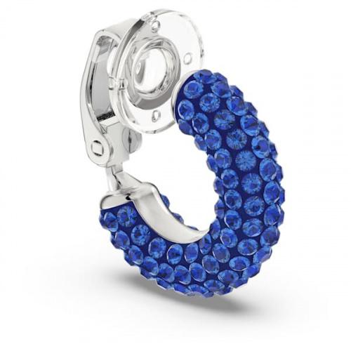 Tigris ear cuff, Blue, Rhodium plated