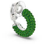 Tigris ear cuff, Single, Green, Rhodium plated