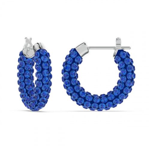 Tigris hoop earrings, Blue, Rhodium plated