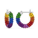 Tigris hoop earrings, Multicolored, Rhodium