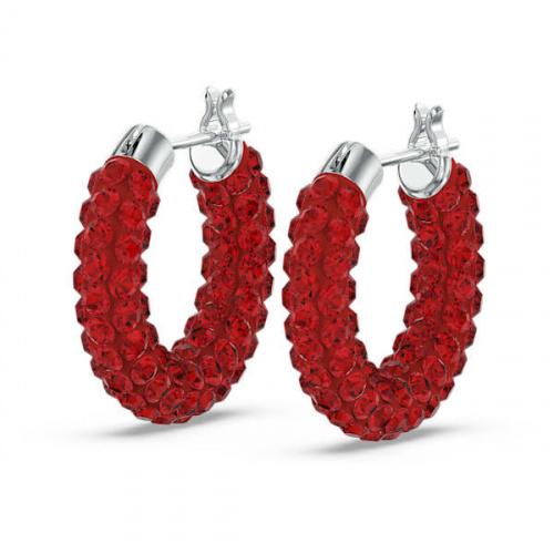 Tigris hoop earrings, Red, Rhodium plated