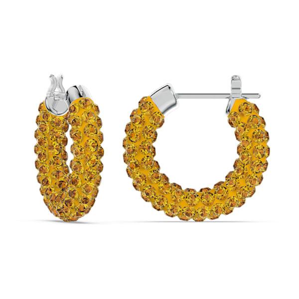 Tigris hoop earrings, Yellow, Rhodium plated