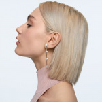 Constella earrings, Asymmetrical, White, Gold