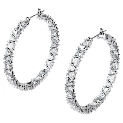 Millenia hoop earrings, Triangle Swarovski zirconia, White