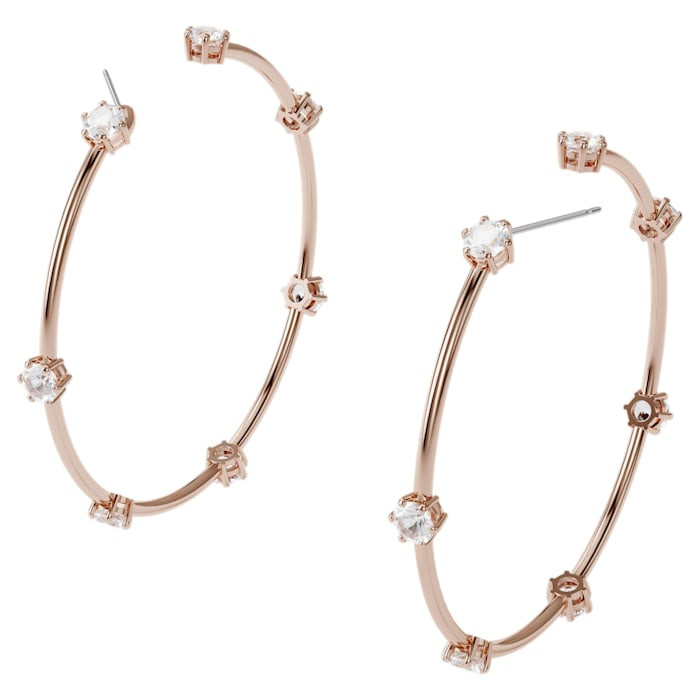 Constella hoop earrings, White, Rose-gold tone