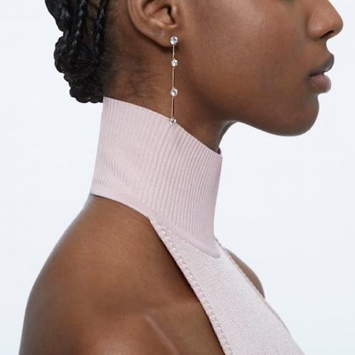 Constella earrings, Asymmetrical, White, Rose