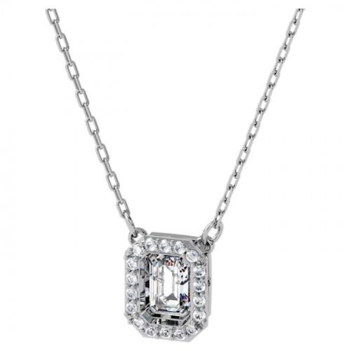 Millenia necklace, Square Swarovski zirconia, White