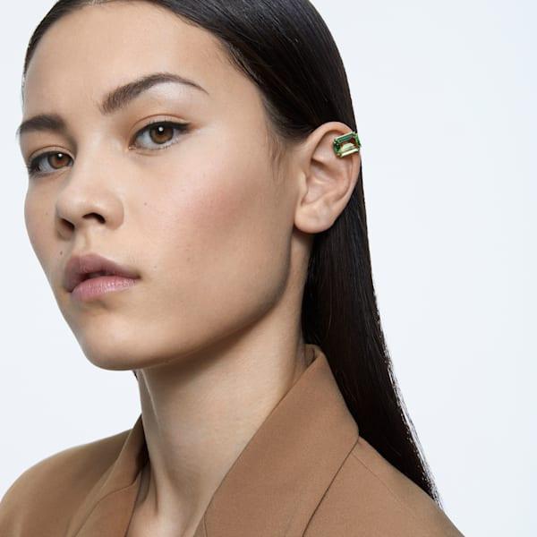 Millenia clip earring, Single, Green, Gold-tone