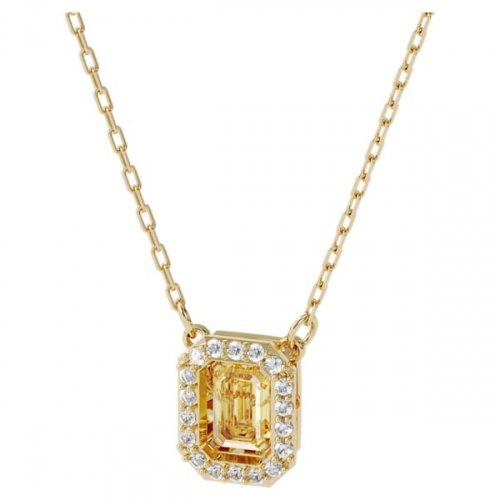 Millenia necklace, Square Swarovski zirconia, Yellow, Gold