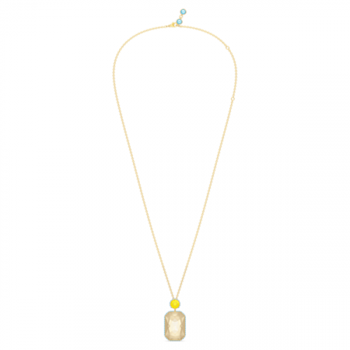 Orbita necklace, Octagon cut crystal, Multicolored
