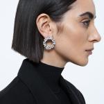 Millenia earrings, Circle, White, Rhodium plated