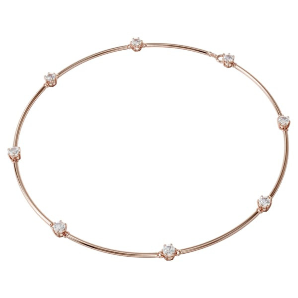 Constella necklace, White, Rose-gold tone plated
