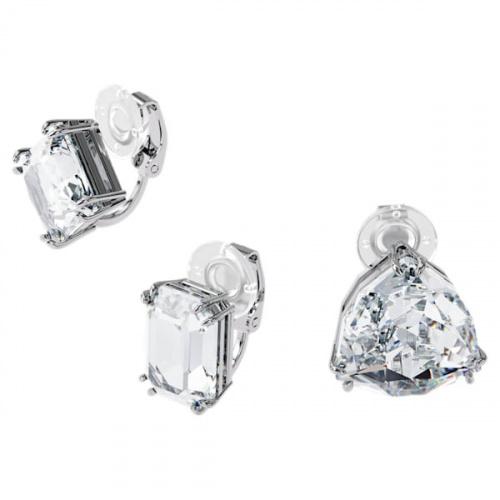 Millenia clip earring, Single, Set, White, Rhodium