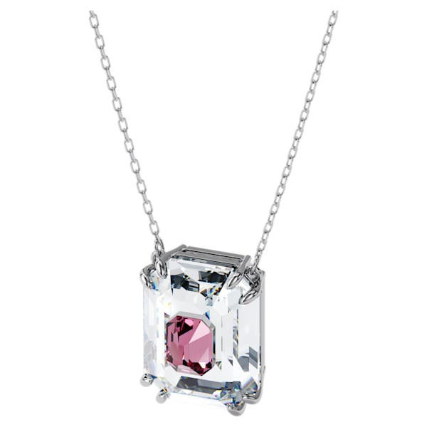 Chroma necklace, Pink, Rhodium plated