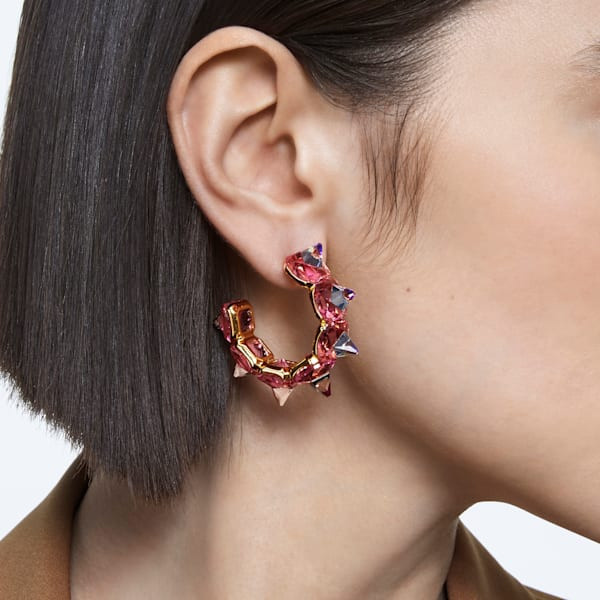 Chroma hoop earrings, Pink, Gold-tone plated