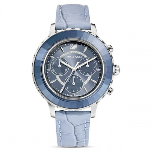 Octea Lux Chrono Watch, Leather strap, Blue