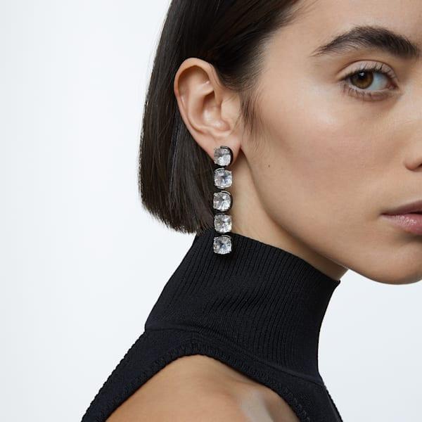 Harmonia drop earrings, Cushion cut floating