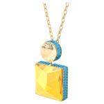 Orbita necklace, Square cut crystal, White, Gold