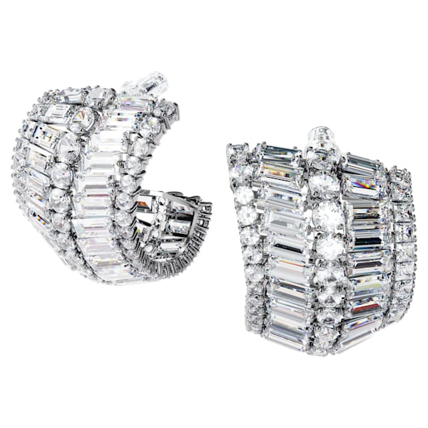 Hyperbola earrings, Large, White, Rhodium plated