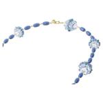 Somnia necklace, Extra long, Blue, Gold-tone