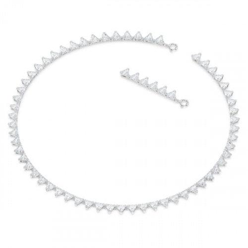 Millenia necklace, Triangle, White, Rhodium