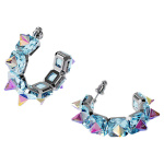 Chroma hoop earrings, Blue, Rhodium plated