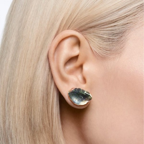 Lucent stud earring, Single, Blue, Rhodium plated