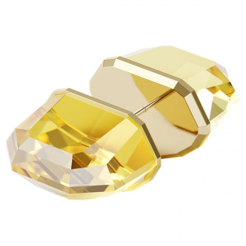 Lucent stud earring, Single, Yellow, Gold-tone
