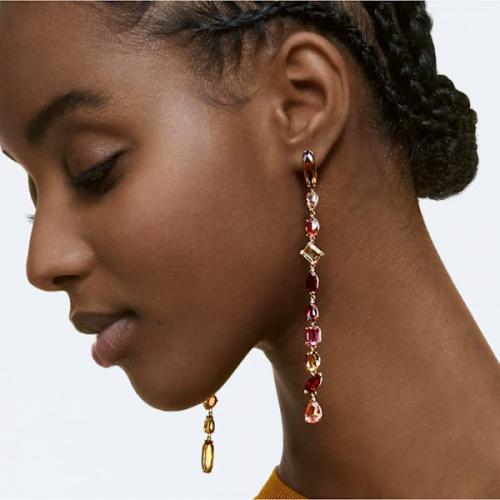 Gema drop earrings, Extra long, Multicolored