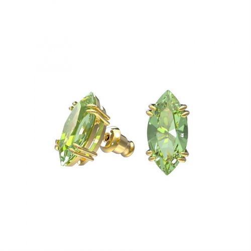 Gema stud earrings, Green, Gold-tone plated