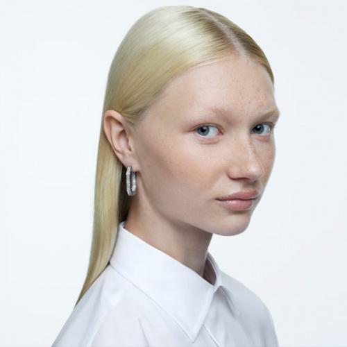Dextera hoop earrings, Octagonal, White