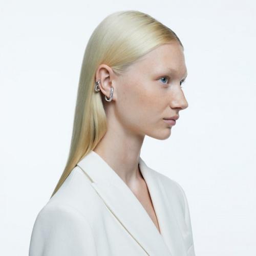 Dextera ear cuff, White, Rhodium plated