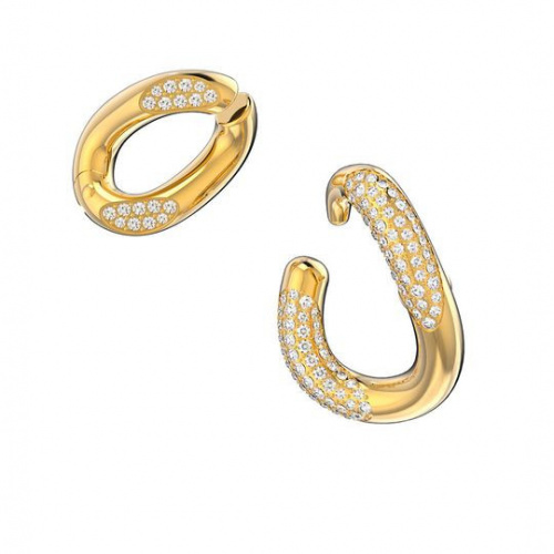 Dextera ear cuff, White, Gold-tone plated
