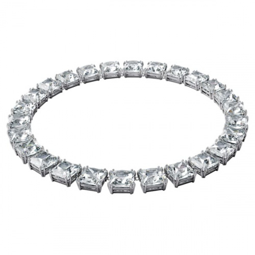 Millenia necklace, Square cut crystals, White