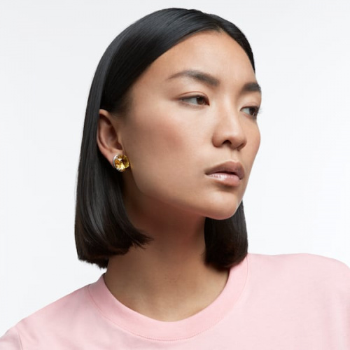 Harmonia stud earrings, Cushion cut crystals, Yellow, Rhodium plated